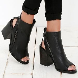 Dolce vita black leather open toe booties